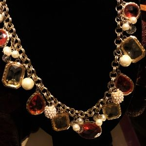 Pretty WHBM Faux Pearl & Mixed Crystal Necklace